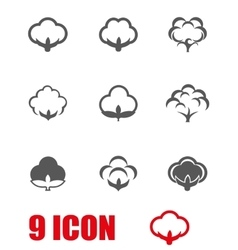 Grey cotton icon set vector