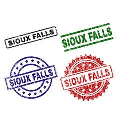 Grunge textured sioux falls stamp seals vector
