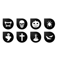 Halloween icons funny faces with different vector