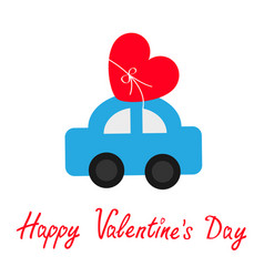Happy valentines day sign symbol toy car carrying vector