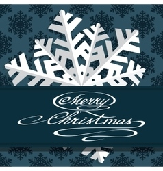 Holiday card with snowflakes and says Merry vector