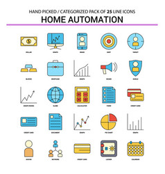 home automation flat line icon set - business vector image