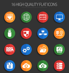 Hosting provider 16 flat icons vector