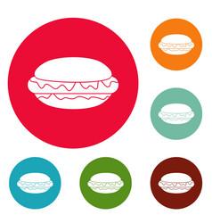 hot dog icons circle set vector image