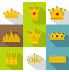 imperial crown icon set flat style vector image