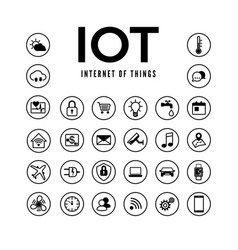 iot icons set internet things pictograph vector image