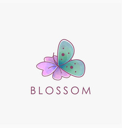 isolated flower and butterfly logo vector image