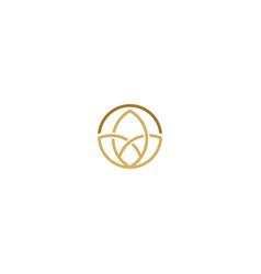 leaf decorative round line logo vector image