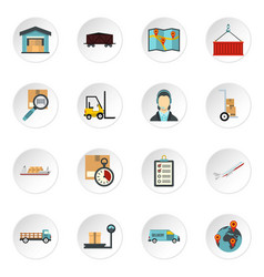 logistic icons set flat style vector image