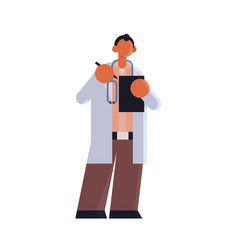 male doctor in white coat writing report in vector image