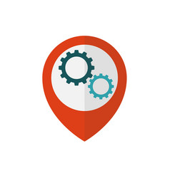 map pointer with gears inside vector image