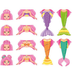 mermaid change clothes puzzle game vector image