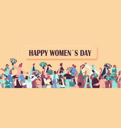 Mix race women holding bouquets womens day 8 march vector
