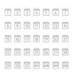 month calendar linear icons set vector image