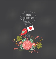 Mothers day floral and bird card vector image