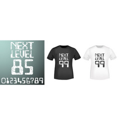 Next level numbers stamp and t shirt mockup vector