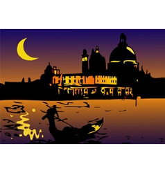 Night in Venice with Moon vector image