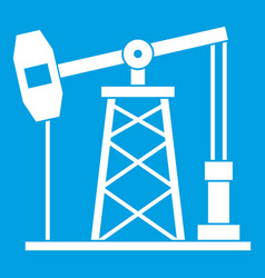 Oil derrick icon white vector