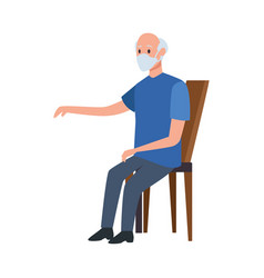 old man seated in wooden chair vector image