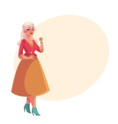 Old senior gray-haired elegant lady dancing vector image