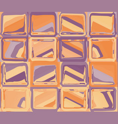 orange purple pattern with abstract squares vector image