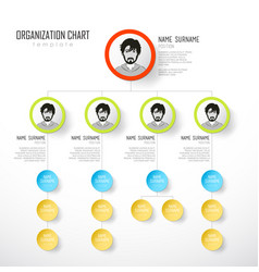 Organization chart template with colorful circles vector