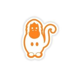 Paper sticker on white background bright gorilla vector