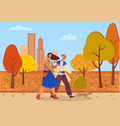 People on date in autumn park couple in city vector