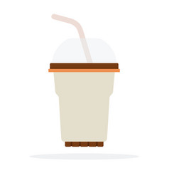 Plastic cocktail glass with dome lid and straw vector