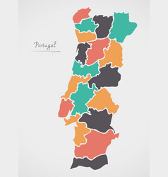 portugal map with states and modern round shapes vector image