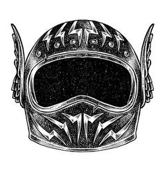Racer helmet on white background vector