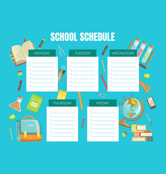 school schedule template timetable for pupils vector image