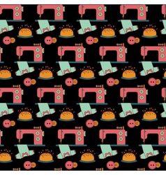 Seamless pattern tailoring tools icons on black vector