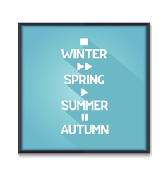 Seasons poster with media icons vector image