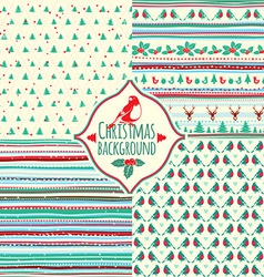 set four christmas patterns vector image