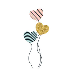 Set of balloons in heart shape in pink dotted vector