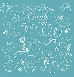 Set of decorative swirls hand-drawn on a turquoise vector image