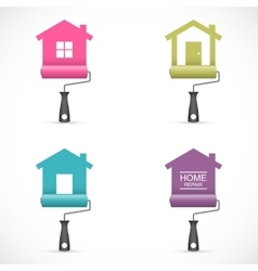 Set of house renovation icons with paint rollers vector image