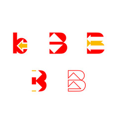 Set of initial letter b with arrow logo design vector