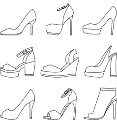 Set of shoes silhouettes on white background vector image