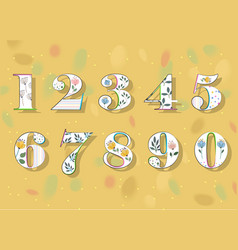 Set of white floral numbers vector