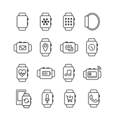 set smart watch icons smartwatches vector image