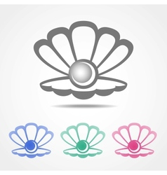shell icon with a pearl in different colors vector image