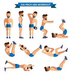Six pack abs workout for men for men exereise vector