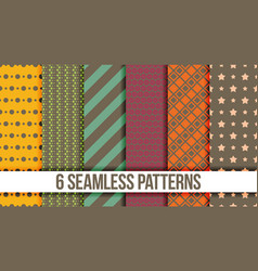 Six seamless geometric patterns vector