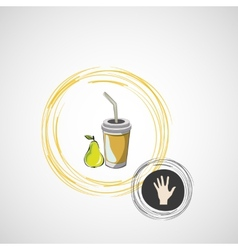 sketch paper cup with straw and pear vector image