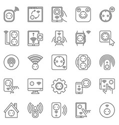 smart socket outline icons set eu sockets vector image