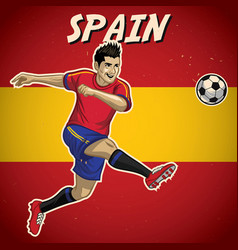 Spain soccer player with flag background vector