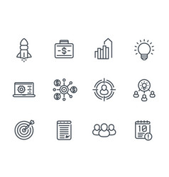 Startup line icons product launch funding vector