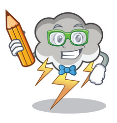 student thunder cloud character cartoon vector image
